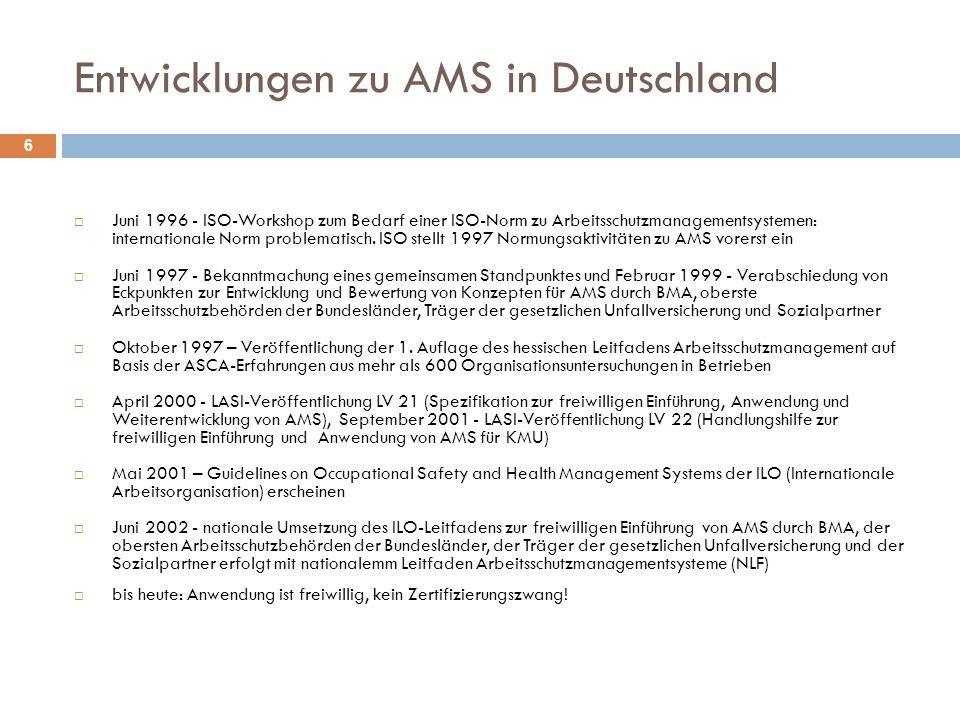 Hauptelemente eines AMS 7 Politik Organisation Planung und Umsetzung Messung und Bewertung Verbesserungs- Maßnahmen nach internationalem und nationalem Leitfaden für Arbeitsschutzmanagementsysteme (ILO-OSH 2001 und NLF)