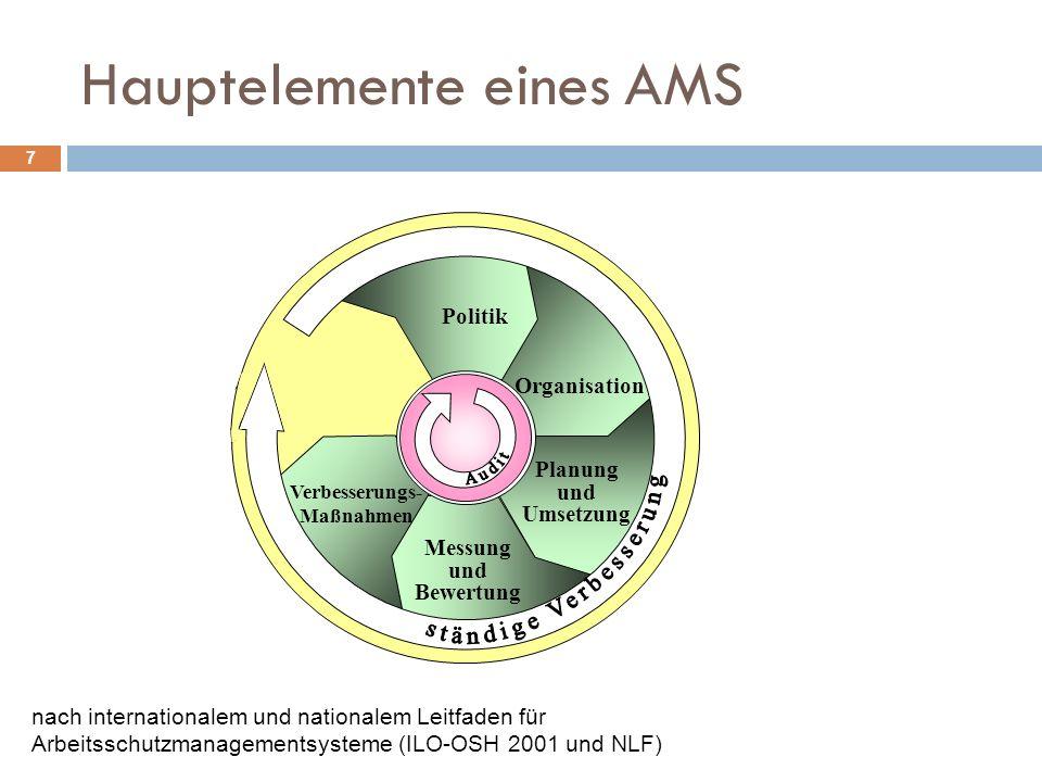 Hauptelemente eines AMS 7 Politik Organisation Planung und Umsetzung Messung und Bewertung Verbesserungs- Maßnahmen nach internationalem und nationale