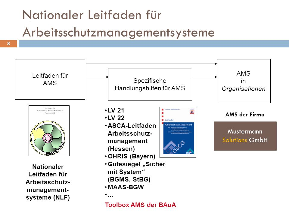 """Nationaler Leitfaden für Arbeitsschutzmanagementsysteme 8 Nationaler Leitfaden für Arbeitsschutz- management- systeme (NLF) Leitfaden für AMS in Organisationen Spezifische Handlungshilfen für AMS LV 21 LV 22 ASCA-Leitfaden Arbeitsschutz- management (Hessen) OHRIS (Bayern) Gütesiegel """"Sicher mit System (BGMS, StBG) MAAS-BGW..."""