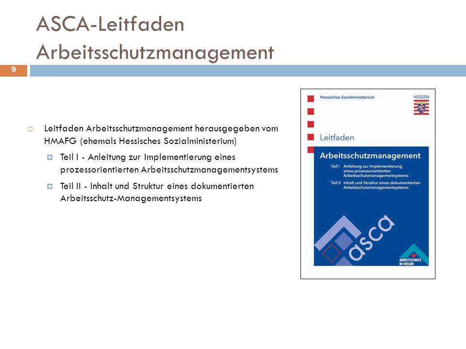  Leitfaden Arbeitsschutzmanagement herausgegeben vom HMAFG (ehemals Hessisches Sozialministerium)  Teil I - Anleitung zur Implementierung eines proz