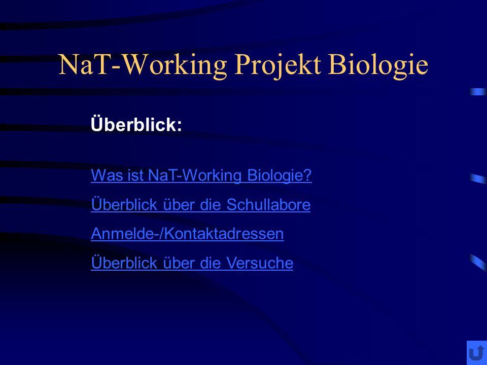 NaT-Working Projekt Biologie Was ist NaT-Working Biologie? Überblick über die Schullabore Anmelde-/Kontaktadressen Überblick über die Versuche Überbli