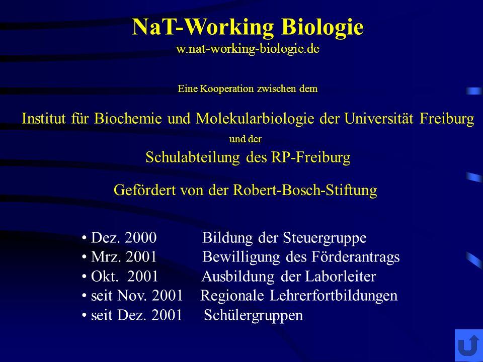 NaT-Working Biologie w.nat-working-biologie.de Eine Kooperation zwischen dem Institut für Biochemie und Molekularbiologie der Universität Freiburg und der Schulabteilung des RP-Freiburg Dez.