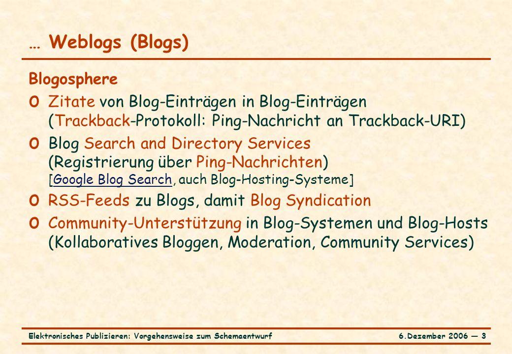 6.Dezember 2006 ― 3Elektronisches Publizieren: Vorgehensweise zum Schemaentwurf … Weblogs (Blogs) Blogosphere o Zitate von Blog-Einträgen in Blog-Eint