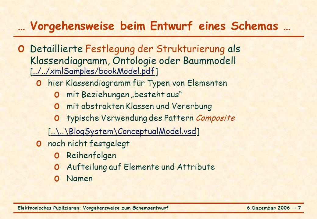 """6.Dezember 2006 ― 7Elektronisches Publizieren: Vorgehensweise zum Schemaentwurf o Detaillierte Festlegung der Strukturierung als Klassendiagramm, Ontologie oder Baummodell [../../xmlSamples/bookModel.pdf]../../xmlSamples/bookModel.pdf o hier Klassendiagramm für Typen von Elementen o mit Beziehungen """"besteht aus o mit abstrakten Klassen und Vererbung o typische Verwendung des Pattern Composite [..\..\BlogSystem\ConceptualModel.vsd]..\..\BlogSystem\ConceptualModel.vsd o noch nicht festgelegt o Reihenfolgen o Aufteilung auf Elemente und Attribute o Namen … Vorgehensweise beim Entwurf eines Schemas …"""