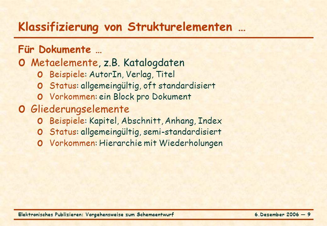 6.Dezember 2006 ― 9Elektronisches Publizieren: Vorgehensweise zum Schemaentwurf Klassifizierung von Strukturelementen … Für Dokumente … o Metaelemente, z.B.