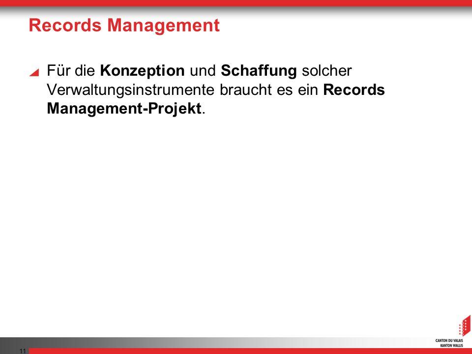 Records Management Für die Konzeption und Schaffung solcher Verwaltungsinstrumente braucht es ein Records Management-Projekt.