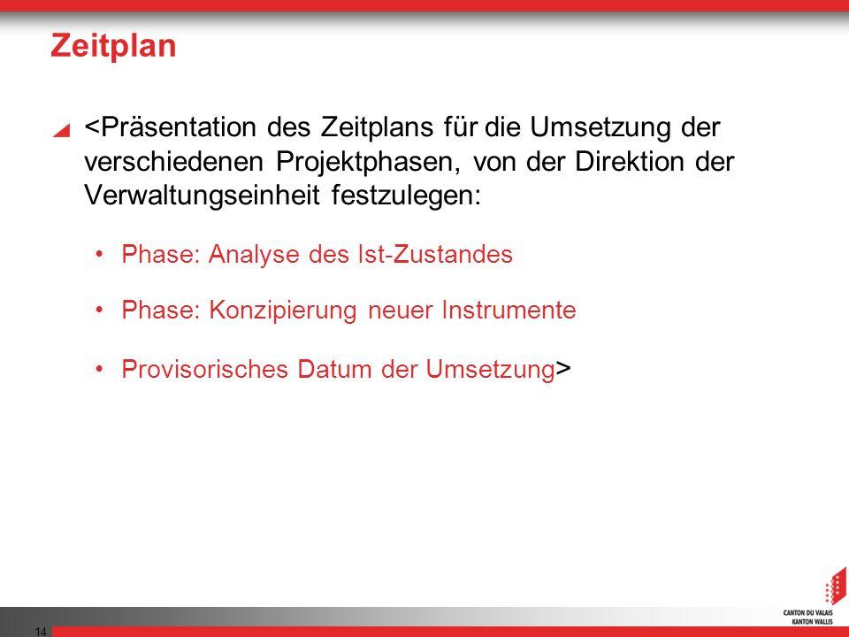Zeitplan <Präsentation des Zeitplans für die Umsetzung der verschiedenen Projektphasen, von der Direktion der Verwaltungseinheit festzulegen: Phase: Analyse des Ist-Zustandes Phase: Konzipierung neuer Instrumente Provisorisches Datum der Umsetzung > 14