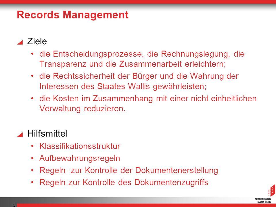 Records Management Ziele die Entscheidungsprozesse, die Rechnungslegung, die Transparenz und die Zusammenarbeit erleichtern; die Rechtssicherheit der Bürger und die Wahrung der Interessen des Staates Wallis gewährleisten; die Kosten im Zusammenhang mit einer nicht einheitlichen Verwaltung reduzieren.