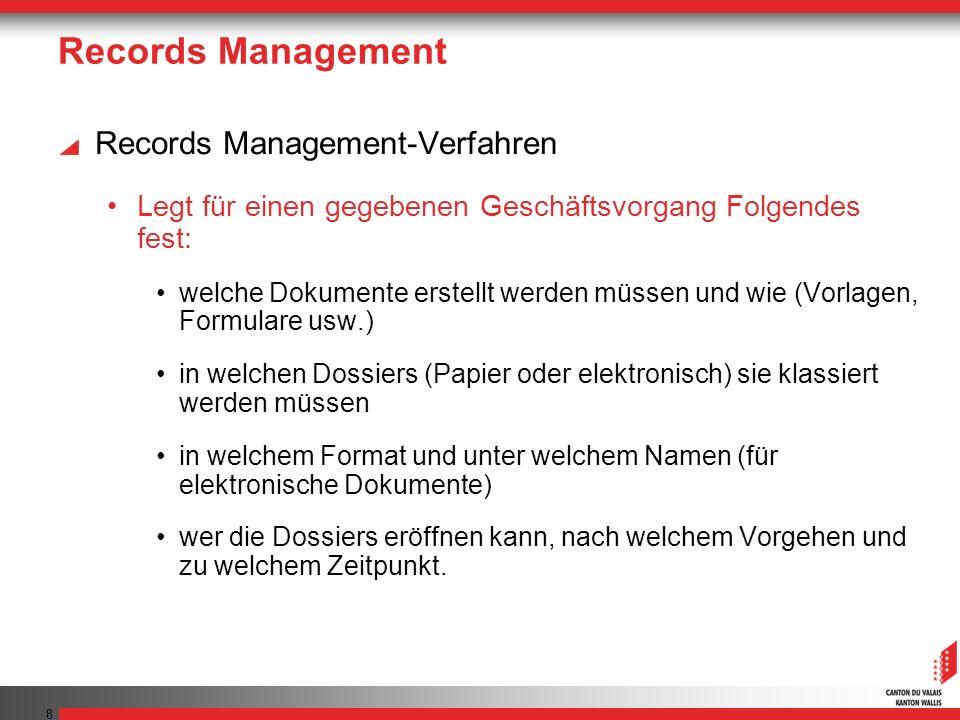 Records Management Records Management-Verfahren Legt für einen gegebenen Geschäftsvorgang Folgendes fest: welche Dokumente erstellt werden müssen und wie (Vorlagen, Formulare usw.) in welchen Dossiers (Papier oder elektronisch) sie klassiert werden müssen in welchem Format und unter welchem Namen (für elektronische Dokumente) wer die Dossiers eröffnen kann, nach welchem Vorgehen und zu welchem Zeitpunkt.