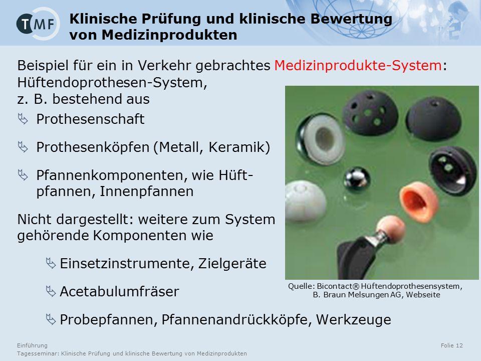 Einführung Tagesseminar: Klinische Prüfung und klinische Bewertung von Medizinprodukten Folie 12 Beispiel für ein in Verkehr gebrachtes Medizinprodukte-System: Hüftendoprothesen-System, z.