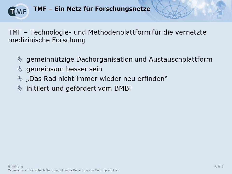 Tagesseminar: Klinische Prüfung und klinische Bewertung von Medizinprodukten Folie 2 TMF – Ein Netz für Forschungsnetze TMF – Technologie- und Methode