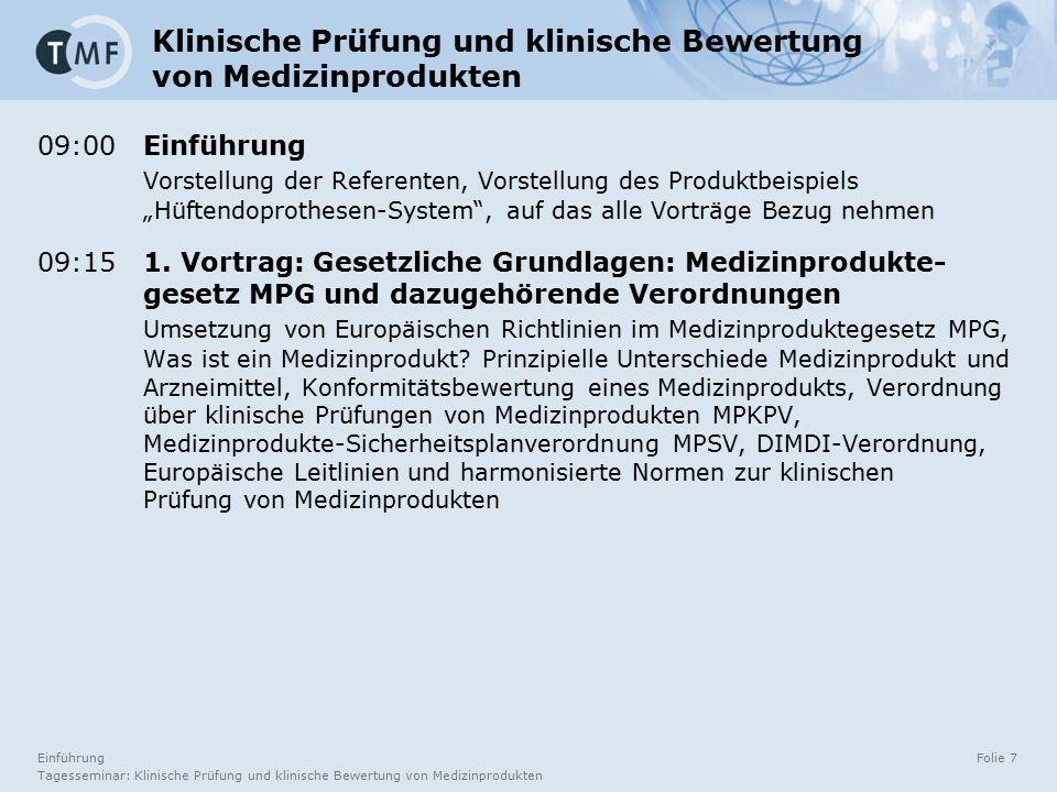 Einführung Tagesseminar: Klinische Prüfung und klinische Bewertung von Medizinprodukten Folie 7 Klinische Prüfung und klinische Bewertung von Medizinp