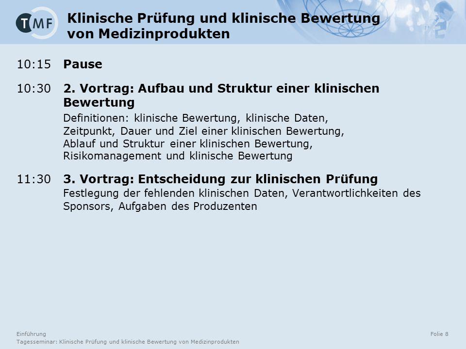 Einführung Tagesseminar: Klinische Prüfung und klinische Bewertung von Medizinprodukten Folie 8 10:15 Pause 10:30 2.