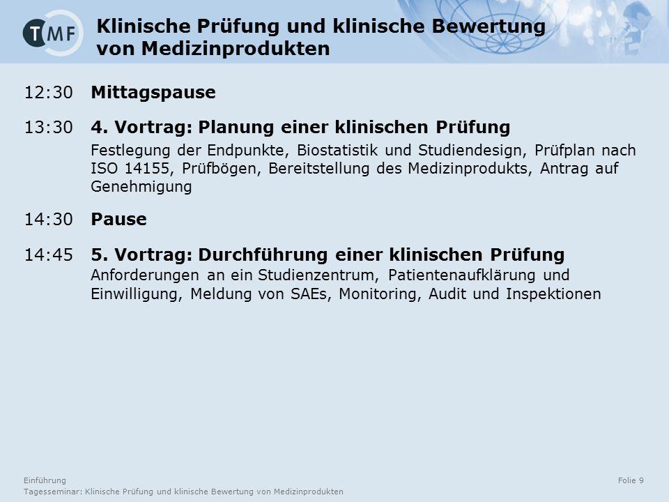 Einführung Tagesseminar: Klinische Prüfung und klinische Bewertung von Medizinprodukten Folie 9 12:30 Mittagspause 13:30 4. Vortrag: Planung einer kli
