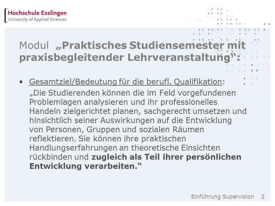 """Einführung Supervision 2 Modul """"Praktisches Studiensemester mit praxisbegleitender Lehrveranstaltung : Gesamtziel/Bedeutung für die berufl."""