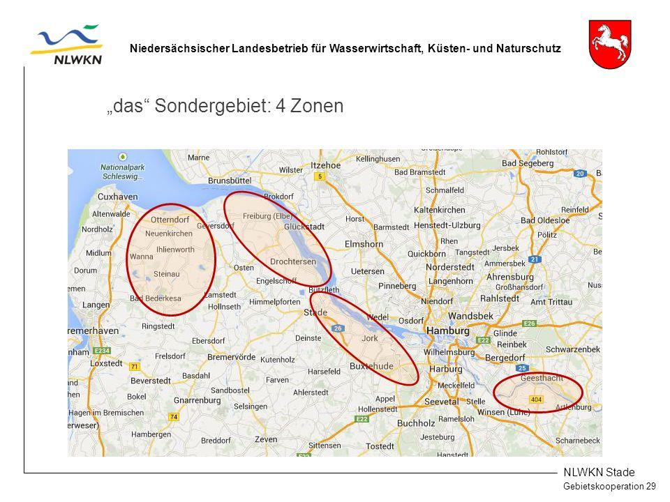 """NLWKN Stade Gebietskooperation 29 Niedersächsischer Landesbetrieb für Wasserwirtschaft, Küsten- und Naturschutz """"das Sondergebiet: 4 Zonen"""