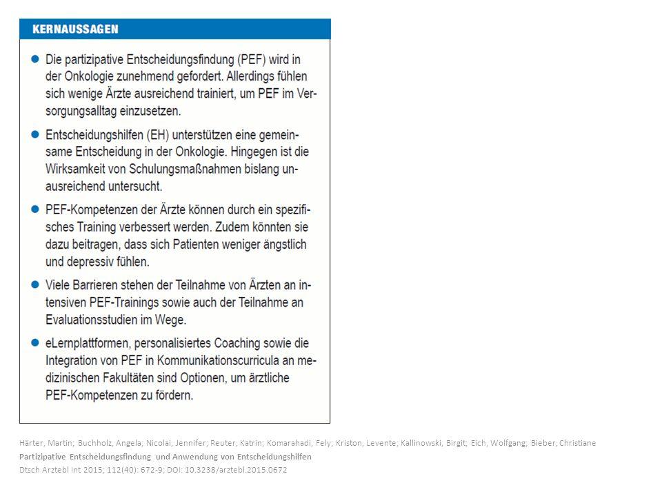 Härter, Martin; Buchholz, Angela; Nicolai, Jennifer; Reuter, Katrin; Komarahadi, Fely; Kriston, Levente; Kallinowski, Birgit; Eich, Wolfgang; Bieber, Christiane Partizipative Entscheidungsfindung und Anwendung von Entscheidungshilfen Dtsch Arztebl Int 2015; 112(40): 672-9; DOI: 10.3238/arztebl.2015.0672