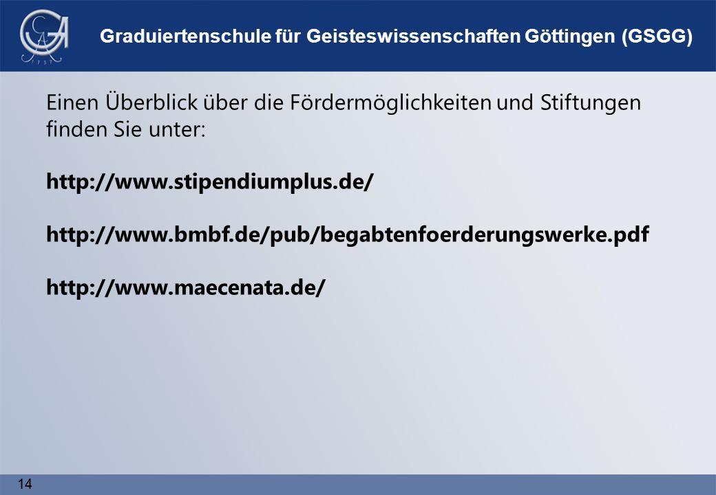 14 Graduiertenschule für Geisteswissenschaften Göttingen (GSGG) Einen Überblick über die Fördermöglichkeiten und Stiftungen finden Sie unter: http://www.stipendiumplus.de/ http://www.bmbf.de/pub/begabtenfoerderungswerke.pdf http://www.maecenata.de/