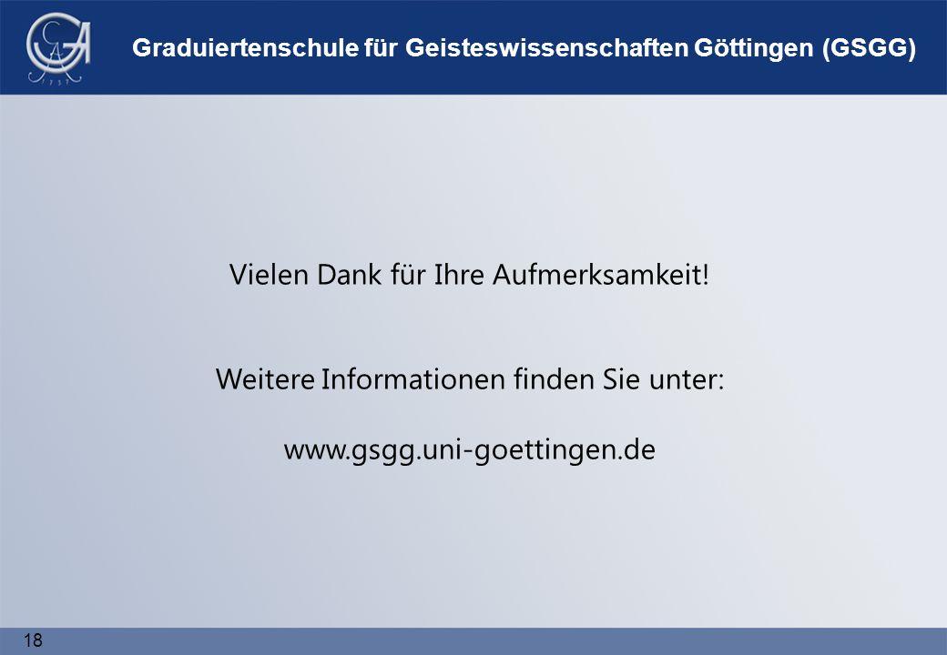 18 Graduiertenschule für Geisteswissenschaften Göttingen (GSGG) Vielen Dank für Ihre Aufmerksamkeit.