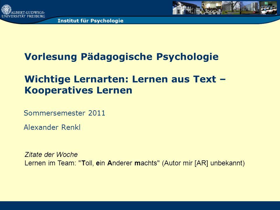 Einige Implikationen Textverständnis ist aktive Konstruktion, d.h.