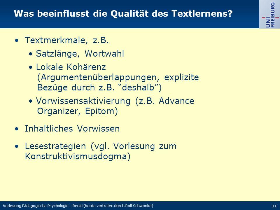 Was beeinflusst die Qualität des Textlernens.Textmerkmale, z.B.