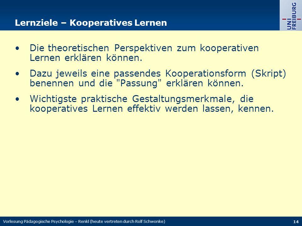 Vorlesung Pädagogische Psychologie – Renkl (heute vertreten durch Rolf Schwonke) 14 Lernziele – Kooperatives Lernen Die theoretischen Perspektiven zum kooperativen Lernen erklären können.