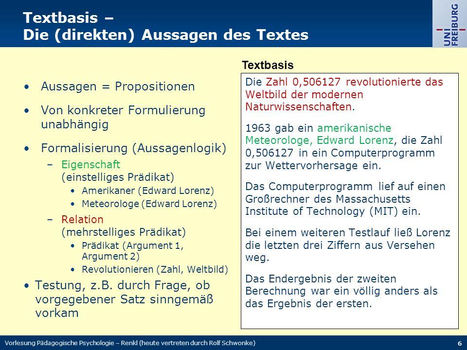 Textbasis – Die (direkten) Aussagen des Textes Die Zahl 0,506127 revolutionierte das Weltbild der modernen Naturwissenschaften.