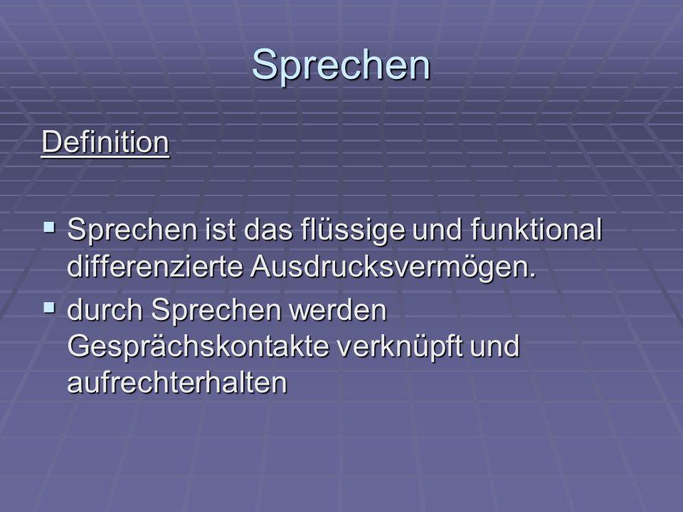 Sprechen Definition  Sprechen ist das flüssige und funktional differenzierte Ausdrucksvermögen.