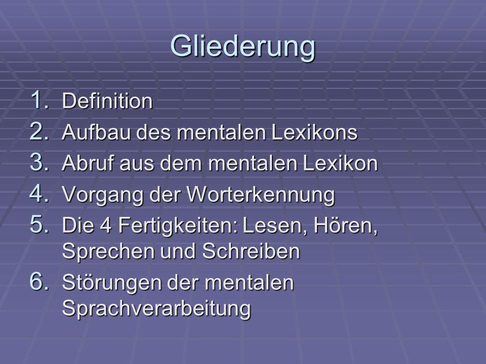 Gliederung 1. Definition 2. Aufbau des mentalen Lexikons 3.