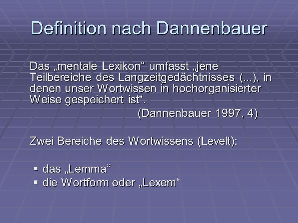 """Definition nach Dannenbauer Das """"mentale Lexikon umfasst """"jene Teilbereiche des Langzeitgedächtnisses (...), in denen unser Wortwissen in hochorganisierter Weise gespeichert ist ."""