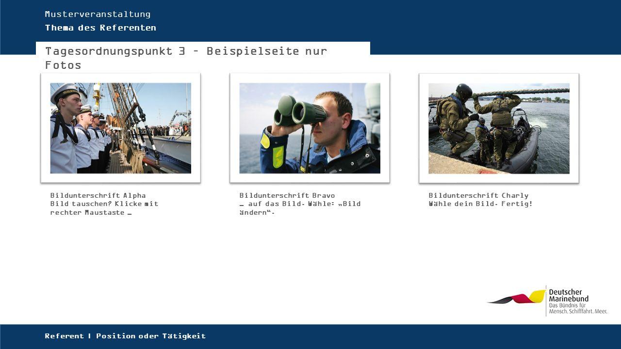 Musterveranstaltung Thema des Referenten Tagesordnungspunkt 3 – Beispielseite nur Fotos Referent | Position oder Tätigkeit Bildunterschrift Alpha Bild tauschen.