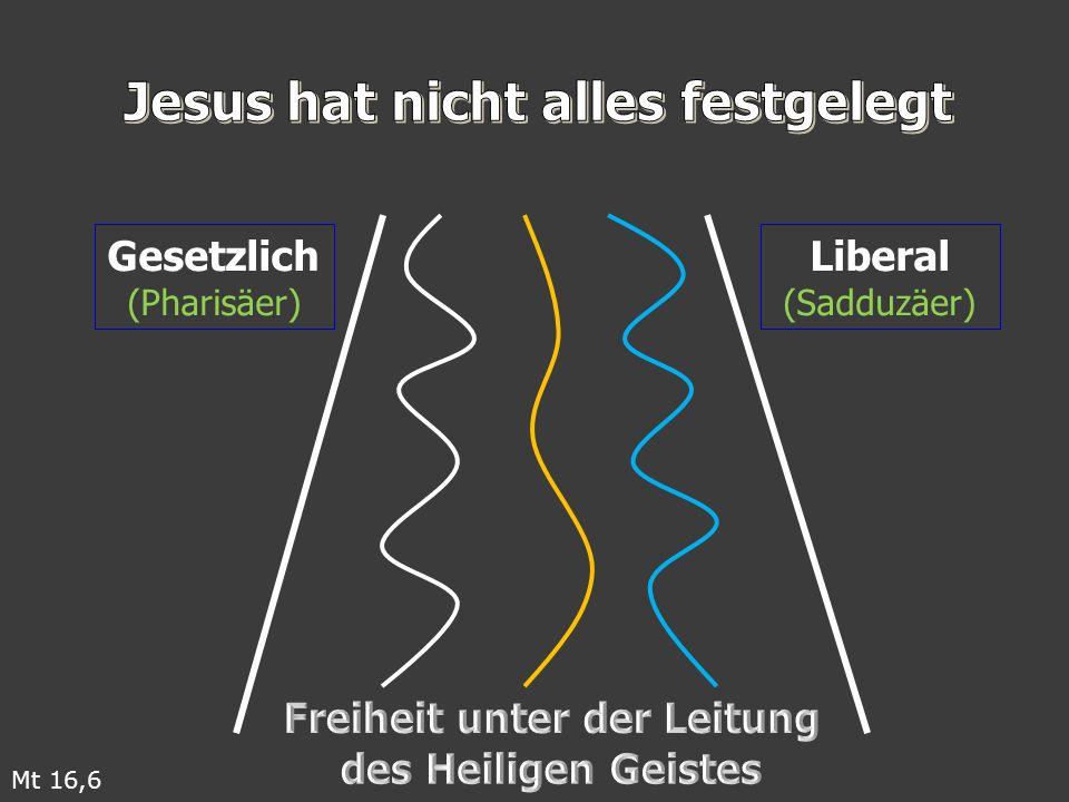Gesetzlich (Pharisäer) Liberal (Sadduzäer) Mt 16,6