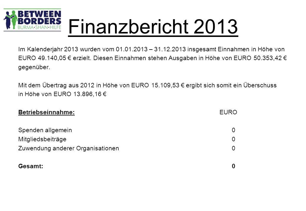 Finanzbericht 2013 Im Kalenderjahr 2013 wurden vom 01.01.2013 – 31.12.2013 insgesamt Einnahmen in Höhe von EURO 49.140,05 € erzielt.