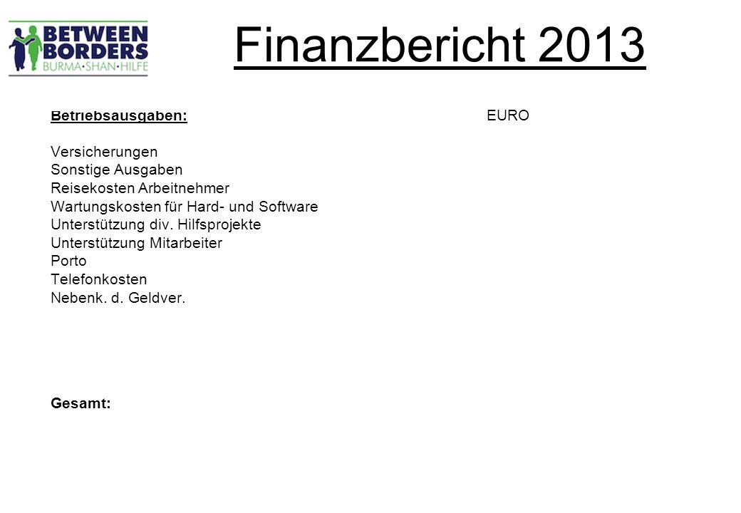 Finanzbericht 2013 Betriebsausgaben: EURO Versicherungen Sonstige Ausgaben Reisekosten Arbeitnehmer Wartungskosten für Hard- und Software Unterstützung div.