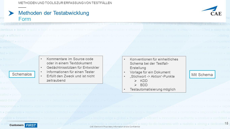 """CAE Elektronik Proprietary Information and/or Confidential Methoden der Testabwicklung Form METHODEN UND TOOLS ZUR ERFASSUNG VON TESTFÄLLEN 15 Kommentare im Source code oder in einem Textdokument Gedächtnisstützen für Entwickler Informationen für einen Tester Erfüllt den Zweck und ist nicht zeitraubend Konventionen für einheitliches Schema bei der Testfall- Erstellung Vorlage für ein Dokument """"Stichwort -> Aktion -Punkte  KDD  BDD Testautomatisierung möglich Schemalos Mit Schema"""