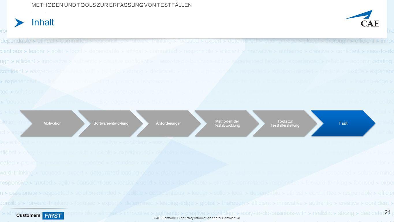 CAE Elektronik Proprietary Information and/or Confidential Inhalt METHODEN UND TOOLS ZUR ERFASSUNG VON TESTFÄLLEN 21 MotivationSoftwareentwicklungAnforderungen Methoden der Testabwicklung Tools zur Testfallerstellung Fazit
