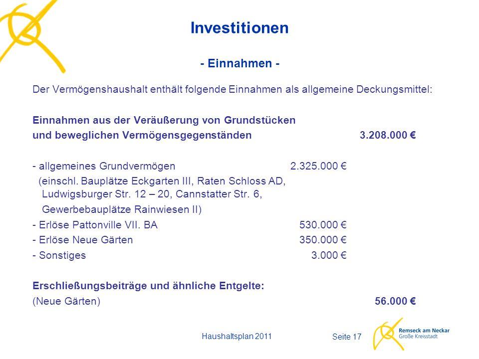Haushaltsplan 2011 Seite 17 Investitionen - Einnahmen - Der Vermögenshaushalt enthält folgende Einnahmen als allgemeine Deckungsmittel: Einnahmen aus