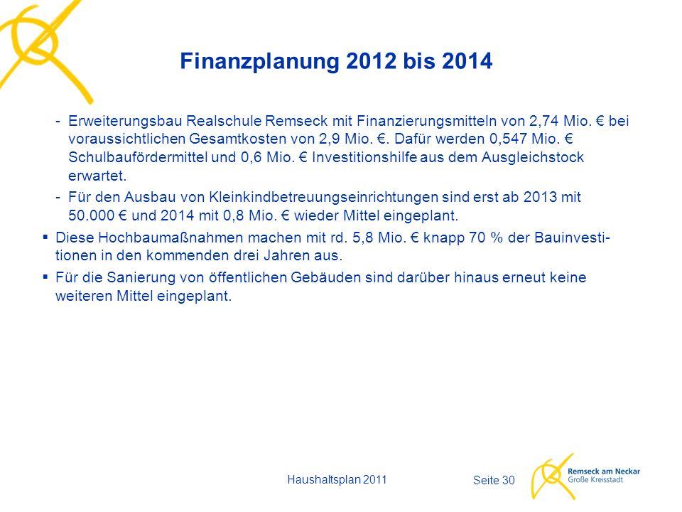 Haushaltsplan 2011 Seite 30 Finanzplanung 2012 bis 2014 -Erweiterungsbau Realschule Remseck mit Finanzierungsmitteln von 2,74 Mio. € bei voraussichtli