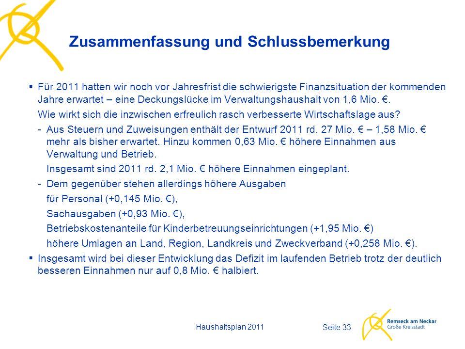 Haushaltsplan 2011 Seite 33  Für 2011 hatten wir noch vor Jahresfrist die schwierigste Finanzsituation der kommenden Jahre erwartet – eine Deckungslü