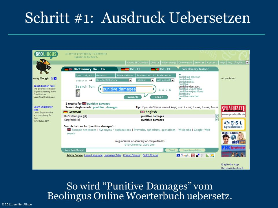 So wird Punitive Damages vom Beolingus Online Woerterbuch uebersetz.