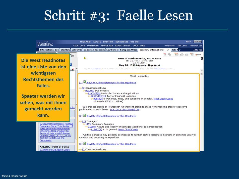 Schritt #3: Faelle Lesen Die West Headnotes ist eine Liste von den wichtigsten Rechtsthemen des Falles. Spaeter werden wir sehen, was mit ihnen gemach