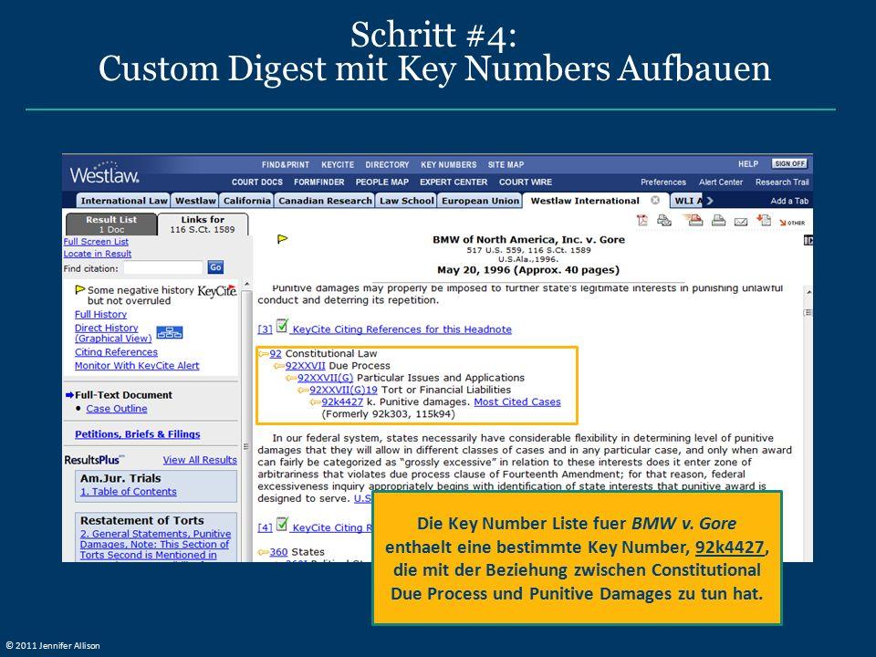 Schritt #4: Custom Digest mit Key Numbers Aufbauen Die Key Number Liste fuer BMW v. Gore enthaelt eine bestimmte Key Number, 92k4427, die mit der Bezi