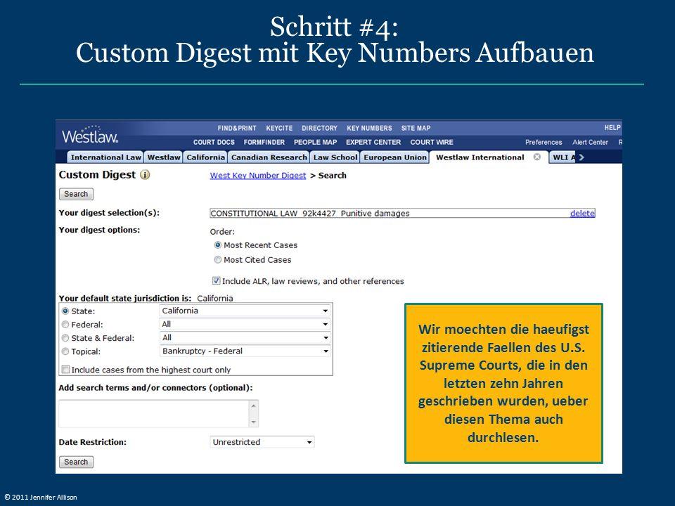 Schritt #4: Custom Digest mit Key Numbers Aufbauen Wir moechten die haeufigst zitierende Faellen des U.S.