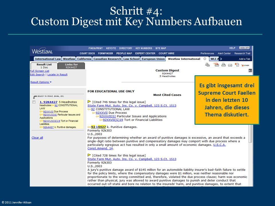 Schritt #4: Custom Digest mit Key Numbers Aufbauen Es gibt insgesamt drei Supreme Court Faellen in den letzten 10 Jahren, die dieses Thema diskutiert.