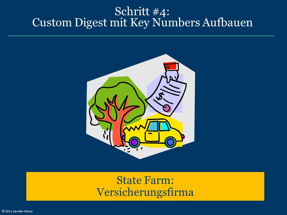 Schritt #4: Custom Digest mit Key Numbers Aufbauen State Farm: Versicherungsfirma © 2011 Jennifer Allison