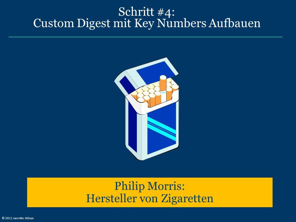Schritt #4: Custom Digest mit Key Numbers Aufbauen Philip Morris: Hersteller von Zigaretten © 2011 Jennifer Allison