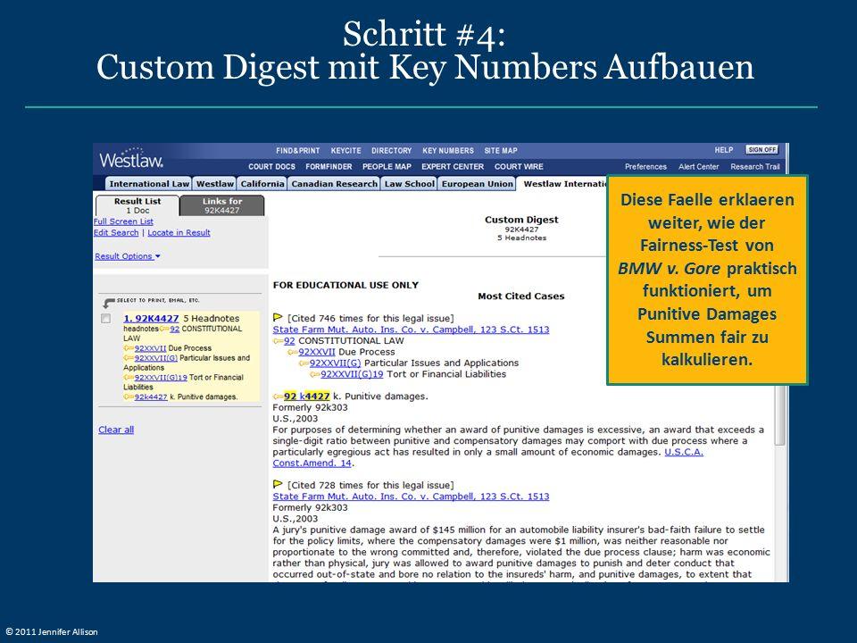 Schritt #4: Custom Digest mit Key Numbers Aufbauen Diese Faelle erklaeren weiter, wie der Fairness-Test von BMW v.