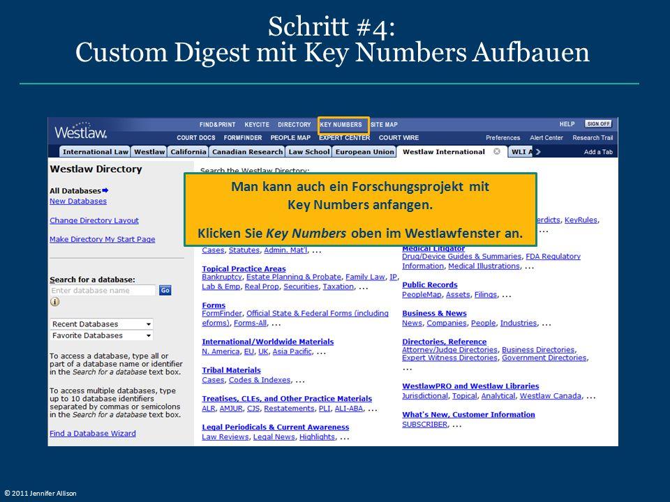 Schritt #4: Custom Digest mit Key Numbers Aufbauen Man kann auch ein Forschungsprojekt mit Key Numbers anfangen. Klicken Sie Key Numbers oben im Westl