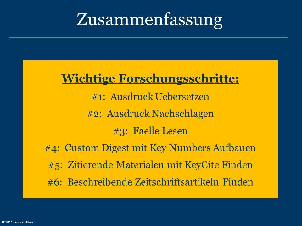 Wichtige Forschungsschritte: #1: Ausdruck Uebersetzen #2: Ausdruck Nachschlagen #3: Faelle Lesen #4: Custom Digest mit Key Numbers Aufbauen #5: Zitier