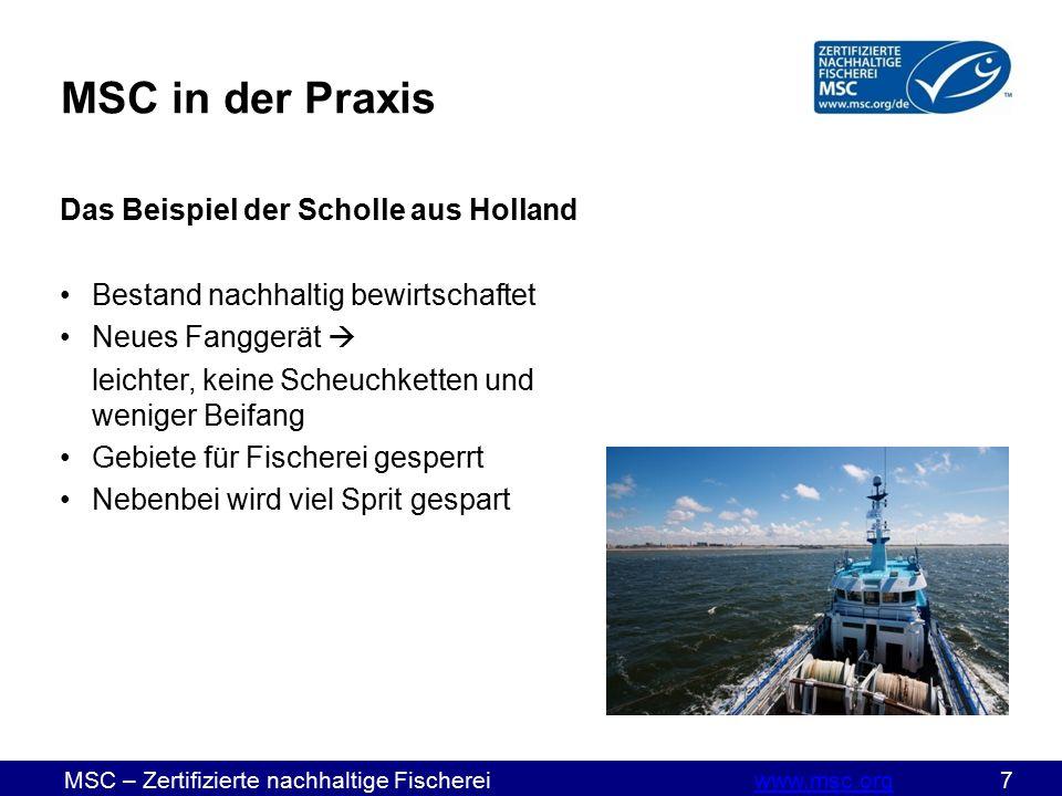 MSC – Zertifizierte nachhaltige Fischereiwww.msc.org 18www.msc.org In der Praxis 3. Kapitel